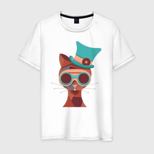 Мужская футболка хлопок Кот в стиле Стим Панк