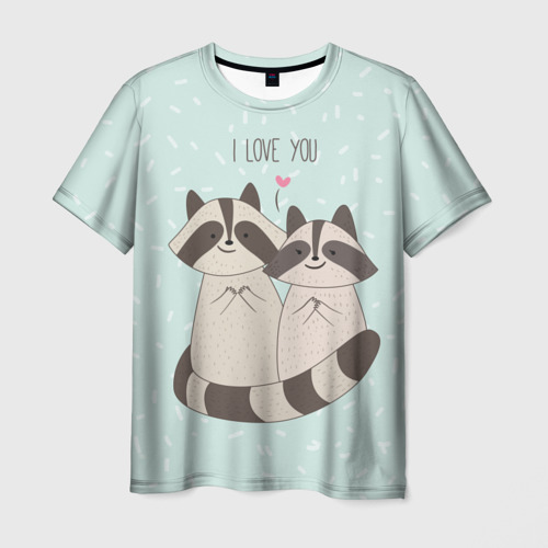 Мужская футболка 3D Влюбленные еноты