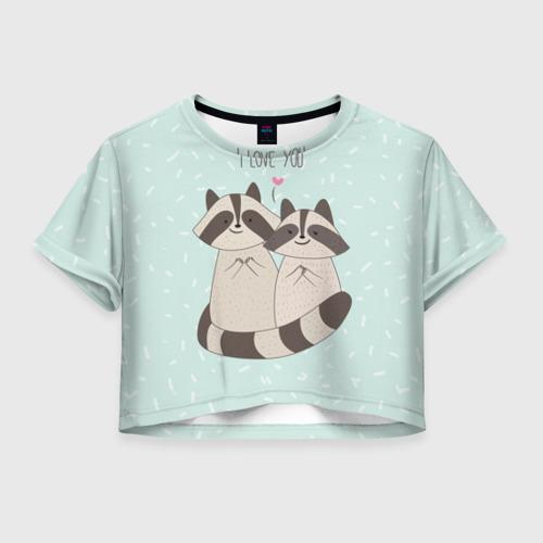 Женская футболка Crop-top 3D Влюбленные еноты