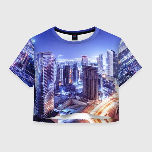 Женская футболка Crop-top 3D Ночной Дубай