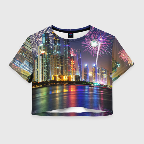 Женская футболка Crop-top 3D Салют в Дубае