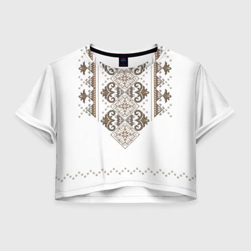Женская футболка Crop-top 3D Вышивка 30