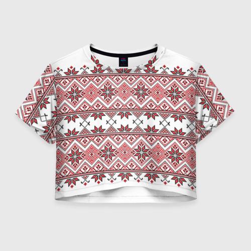 Женская футболка Crop-top 3D Вышивка 42