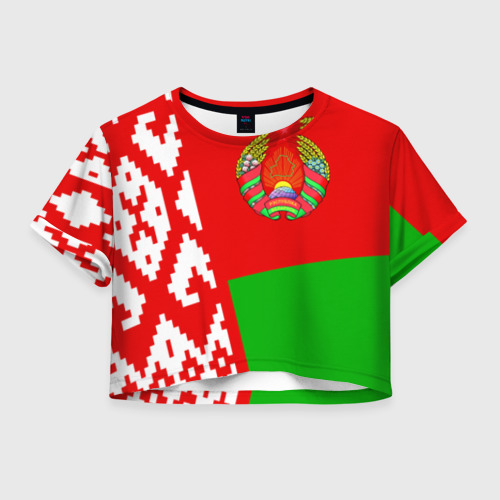 Женская футболка Crop-top 3D Беларусь 2