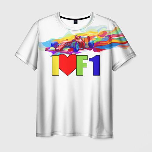 Мужская футболка 3D Я люблю F1