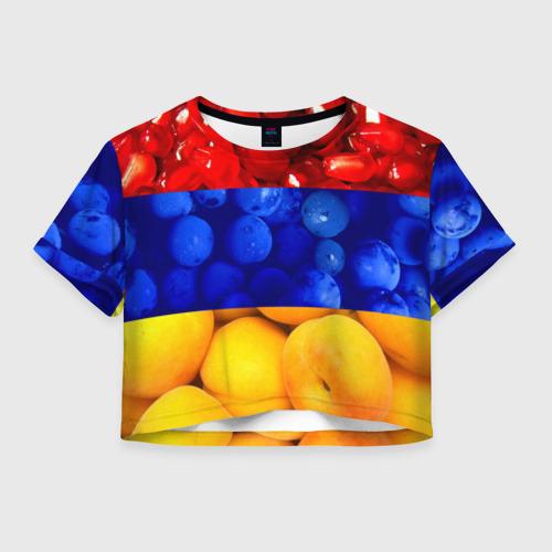Женская футболка Crop-top 3D Флаг Армении