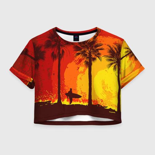 Женская футболка Crop-top 3D Summer Surf