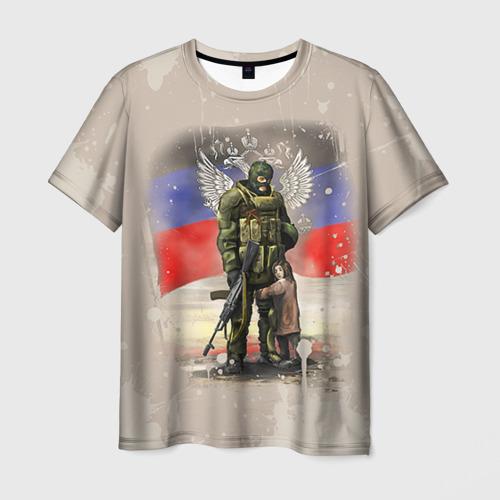 Мужская футболка 3D Солдат и дитя