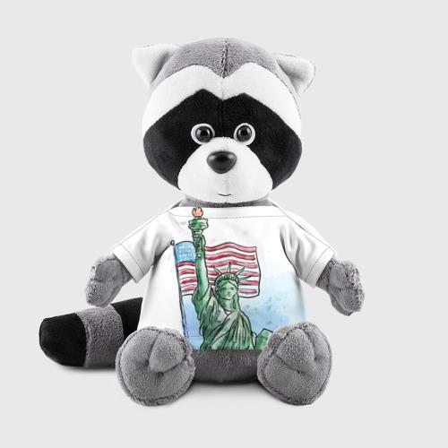 Игрушка Енотик в футболке 3D Статуя свободы