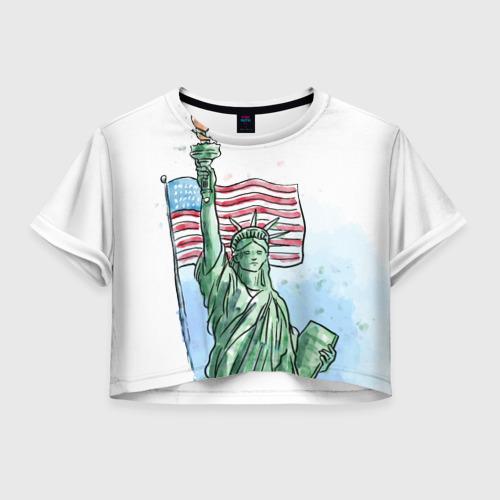 Женская футболка Crop-top 3D Статуя свободы