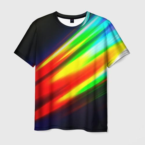 Мужская футболка 3D Цветные блики