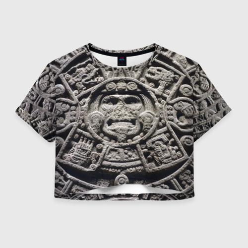 Женская футболка Crop-top 3D Календарь ацтеков