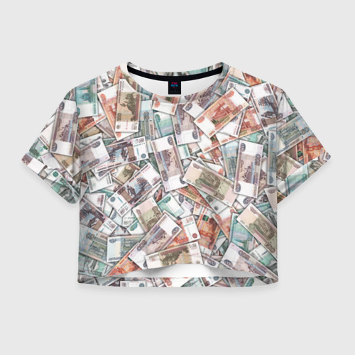 Женская футболка Crop-top 3D Куча денег