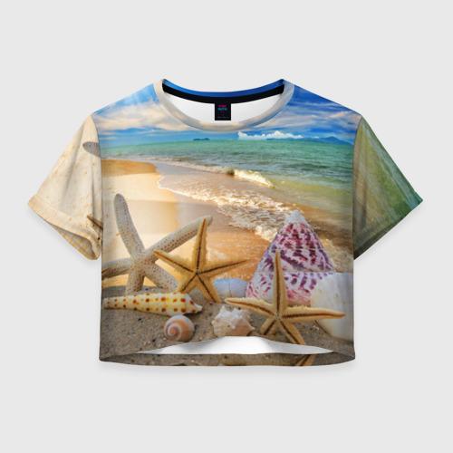 Женская футболка Crop-top 3D Морской пляж 2