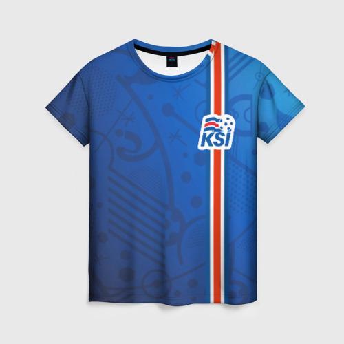 Женская футболка 3D Форма сборной Исландии по футболу