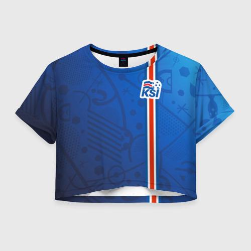Женская футболка Crop-top 3D Форма сборной Исландии по футболу