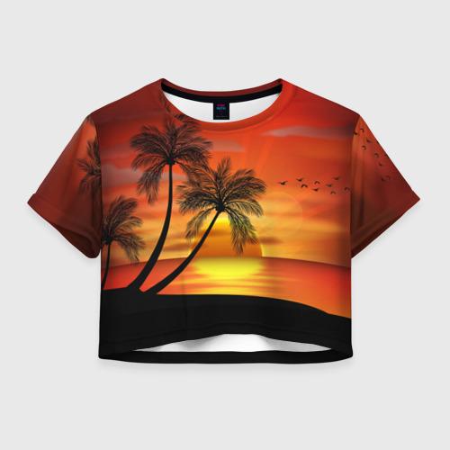 Женская футболка Crop-top 3D Закат 1