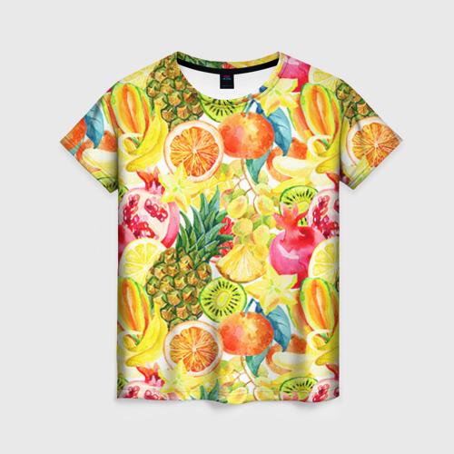 Женская футболка 3D Веселые фрукты 1