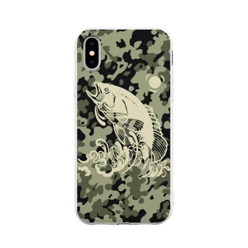 Чехол для iPhone X матовый Рыбалка
