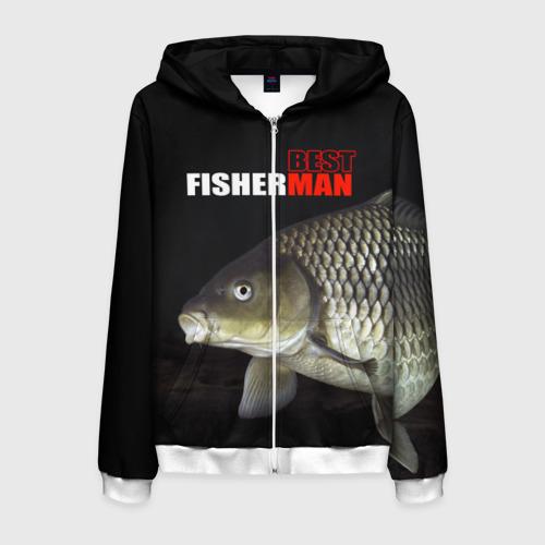 Мужская толстовка 3D на молнии Лучший рыбак