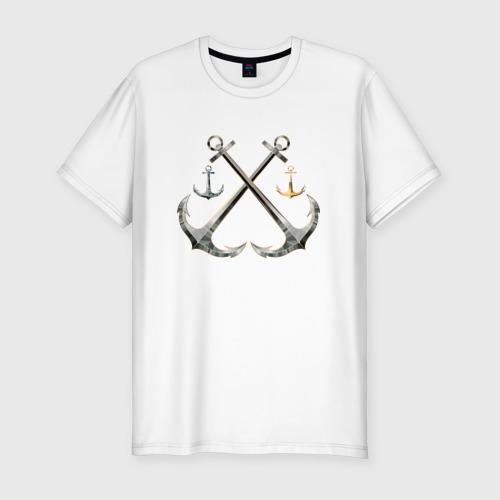 Мужская футболка хлопок Slim Якорь