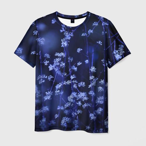 Мужская футболка 3D Ночные цветы