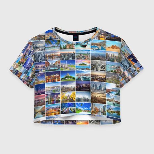 Женская футболка Crop-top 3D Мир путешествий