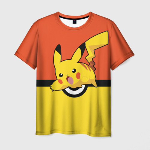 Мужская футболка 3D Пикачу Покебол
