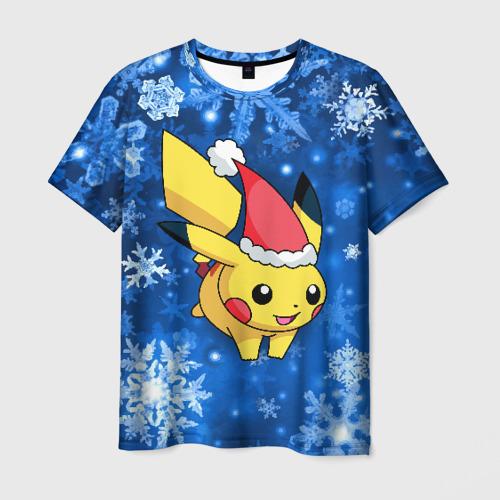 Мужская футболка 3D Новогодний Пикачу