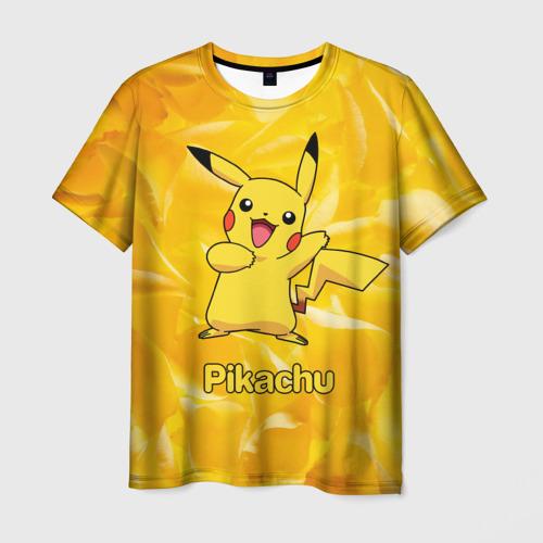 Мужская футболка 3D Пикачу на золотом фоне