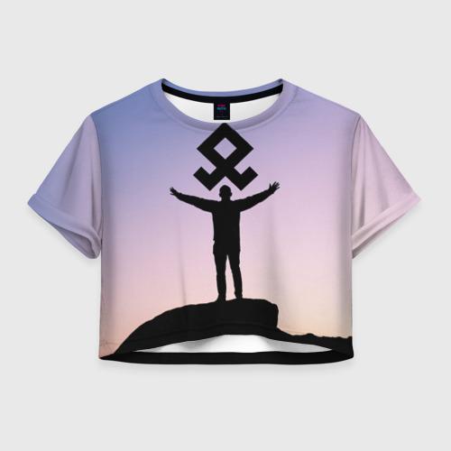 Женская футболка Crop-top 3D Знак Рода
