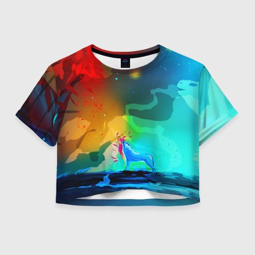 Женская футболка Crop-top 3D Wolf