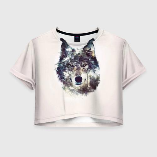 Женская футболка Crop-top 3D Волк