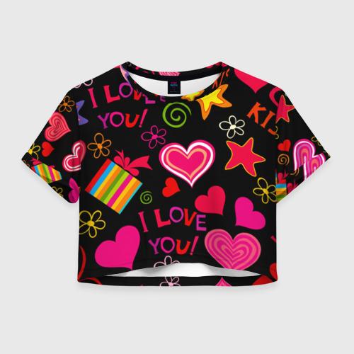 Женская футболка Crop-top 3D Праздник любви