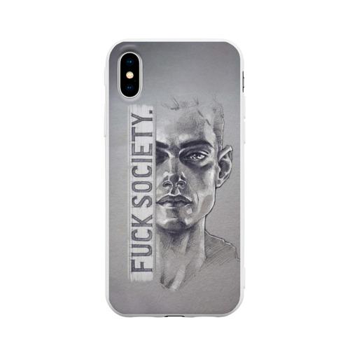 Чехол для iPhone X матовый Fuck Society