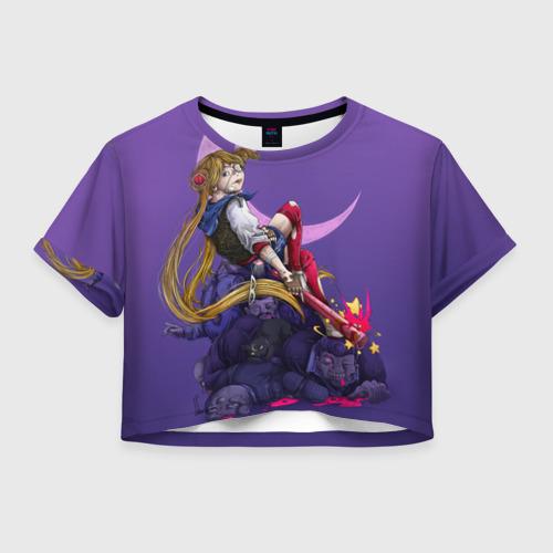 Женская футболка Crop-top 3D Сейлор Мун
