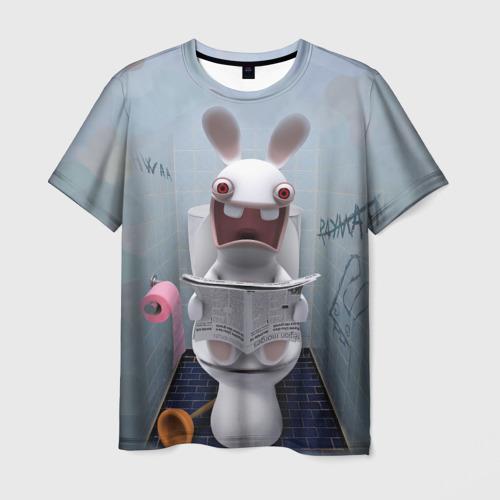 Мужская футболка 3D Кролик с газетой