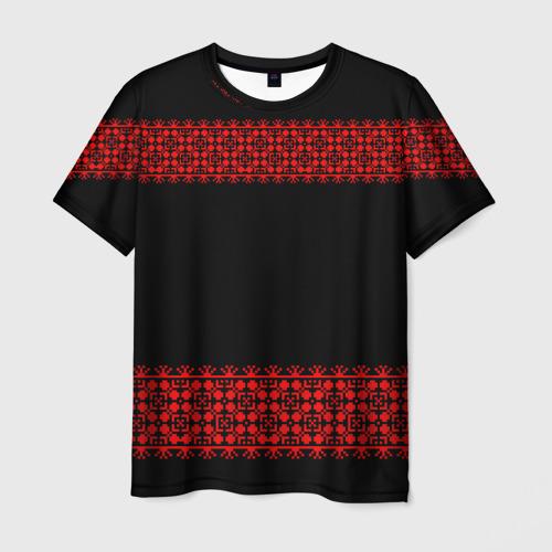 Мужская футболка 3D Славянский орнамент (на чёрном)