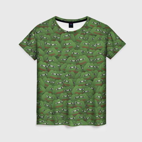 Женская футболка 3D Грустные лягушки