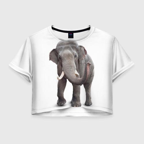Женская футболка Crop-top 3D Слон VPPDGryphon