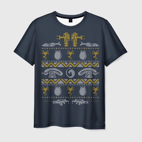 Мужская футболка 3D Новогодний свитер Чужой