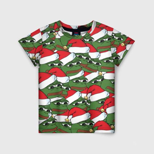 Детская футболка 3D Sad frog new year