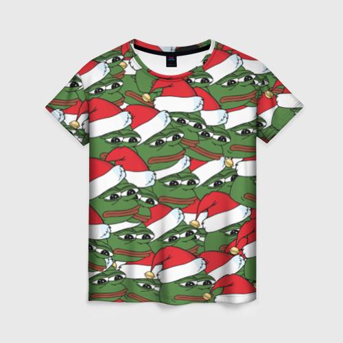 Женская футболка 3D Sad frog new year
