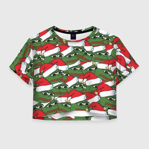 Женская футболка Crop-top 3D Sad frog new year