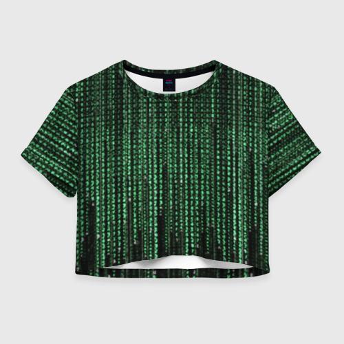Женская футболка Crop-top 3D Матрица