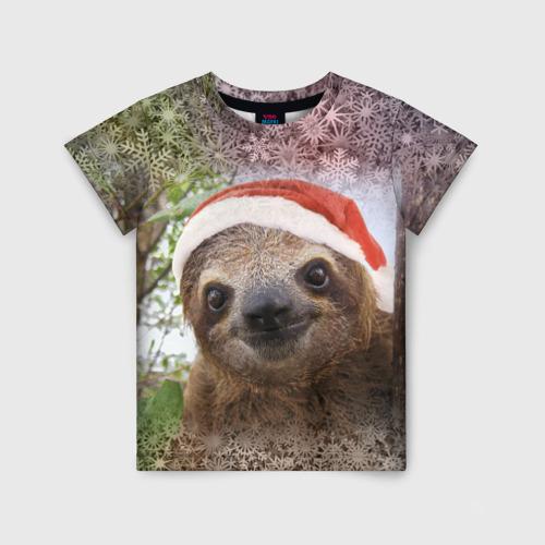 Детская футболка 3D Рождественский ленивец
