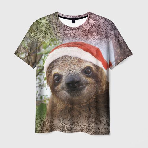 Мужская футболка 3D Рождественский ленивец