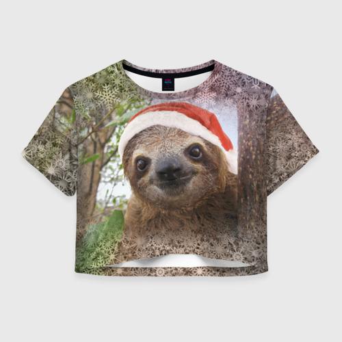 Женская футболка Crop-top 3D Рождественский ленивец