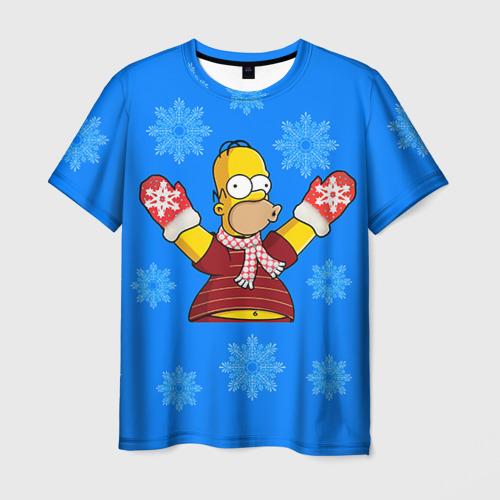 Мужская футболка 3D Симпсоны новогодние 2