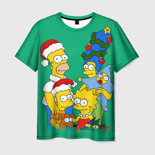 Мужская футболка 3D Симпсоны новогодние 3